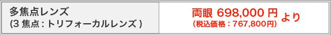 多焦点レンズ(3焦点・トリフォーカルレンズ)両眼698,000円~(税別)